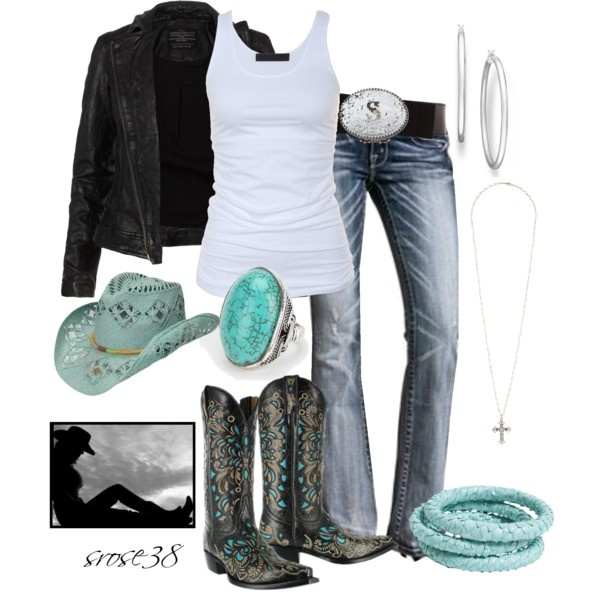 Rebel Cowgirl look!  Leather jacket and cowboy boots!
