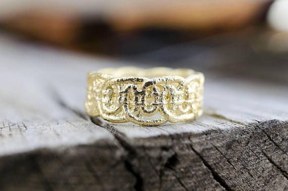 Gold Lace Ring, Romantic Jewelry, Valentine's Gift, Dainty Ring, Statement Ring, Lace Jewelry, Unique Ring, Cast Lace, Ready to Ship