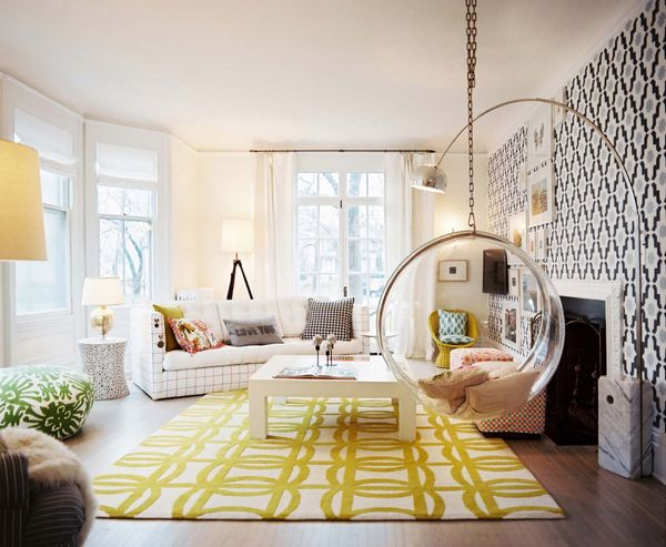 Graphic Prints & Bubble Chair: Kitchens Interiors, Living Rooms, Pattern, Color, Interiors Design, Hanging Chairs, Design Kitchens, Bubbles Chairs, Modern Kitchens Design