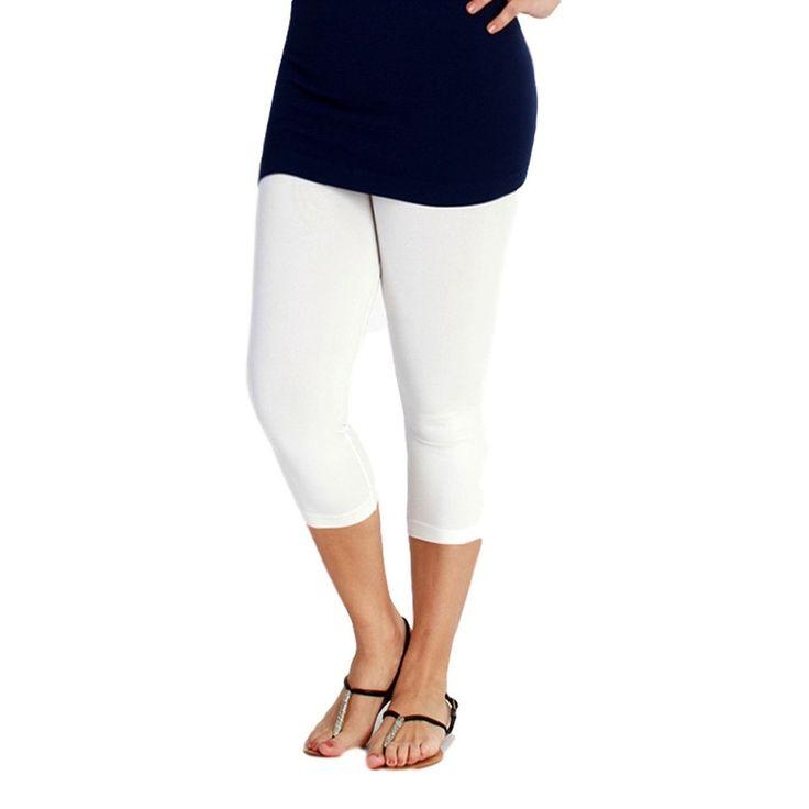 Curvy Capri Leggings, White