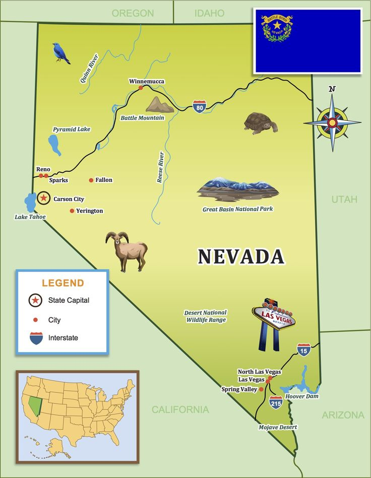 Best Nevada For Kids Images On Pinterest Nevada Places And - Map of nevada and arizona usa