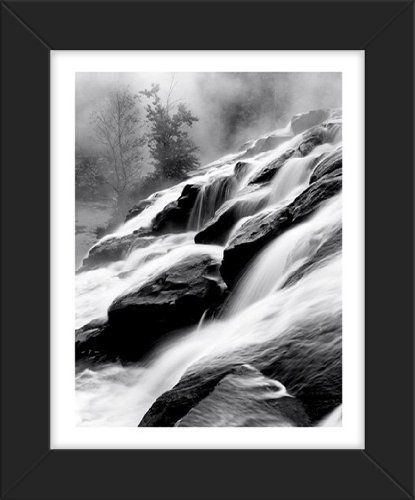 Framed waterfall ii over the rocks petite urban décor sheet poster print