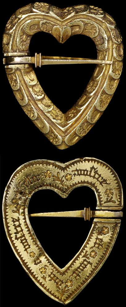 Medieval Gold Heart-shaped Brooch with sword clasp, maker unknown,ca. 1400. VAM