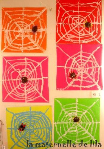 graphisme araignée, craie grasse + encre ou drawing gum + encre
