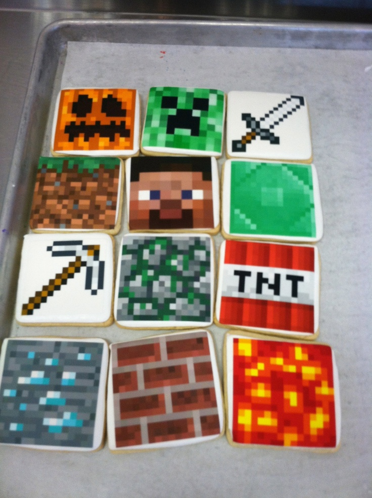 Minecraft Cookies with edible image. $33.00, via Etsy.