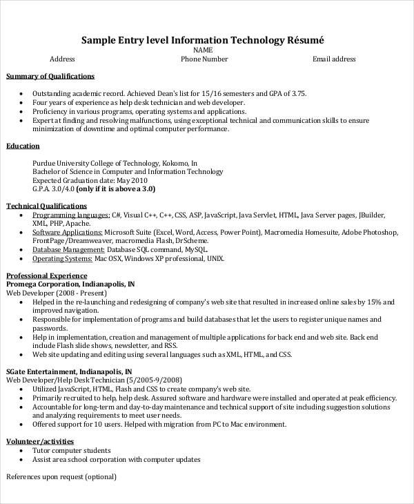 It Resume Format Template 11 Free Word Pdf Format Resume Template Word Resume Template Downloadable Resume Template