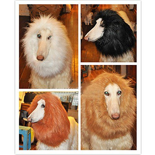 Wotefusi Halloween Large Pet Dog Cat Costume Lion Mane Wig Hair Clothes head accessories gray ** Find out more about the great product at the image link. (This is an affiliate link and I receive a commission for the sales)
