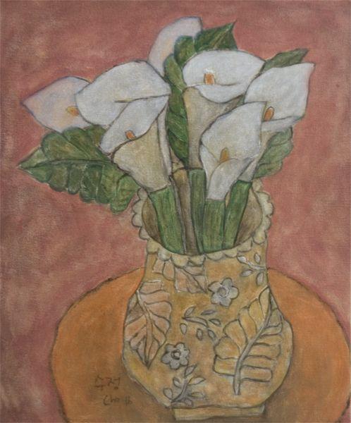 """Soojung Cho, calla lily in orange color ceramic vase, 24""""x20"""", acrylic on canvas"""