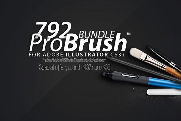 792 BRUSHES - ProBrush™ BUNDLE -76% by Leonard Posavec on Creative Market