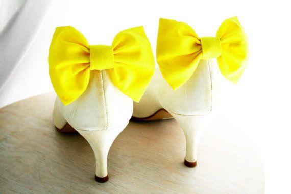 Yellow bow Shoe clips Lemon yellow Bow tie Shoe by maryankastudio, $10.00