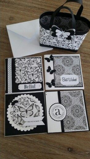 Black and white bag and card set.