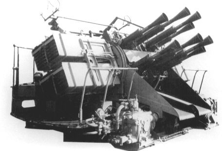 "2 pdr Royal Navy ""pom poms"" anti-aircraft gun - Eight barrelled mounting - Used on Battleships"