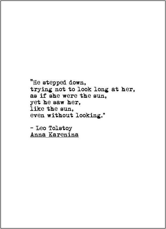 Anna Karenina love quote retro typewriter literary print romance wedding valentine's day anniversary engagement gift literature Leo Tolstoy