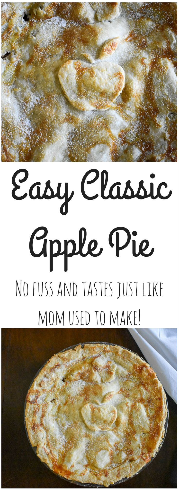 Easy classic apple pie is made with tart Granny Smith apples, warm spices, and an all-butter crust. Perfect for year-round and pretty enough for the holidays. Recipe by Dash of Jazz