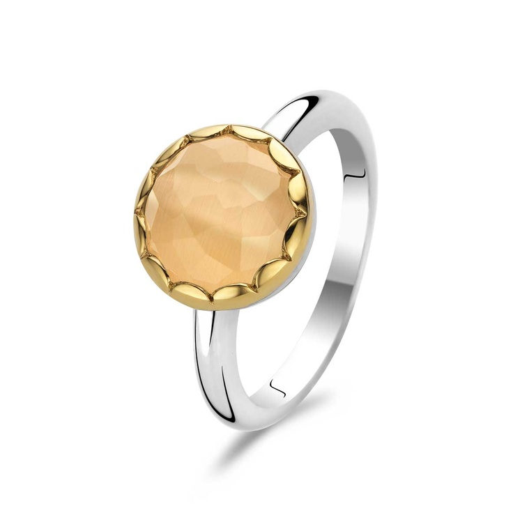 Ti Sento Sterling Silver Two-Tone Orange Fashion Ring