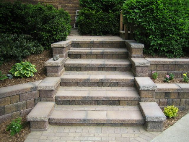 outdoor concrete block stairs design ideas