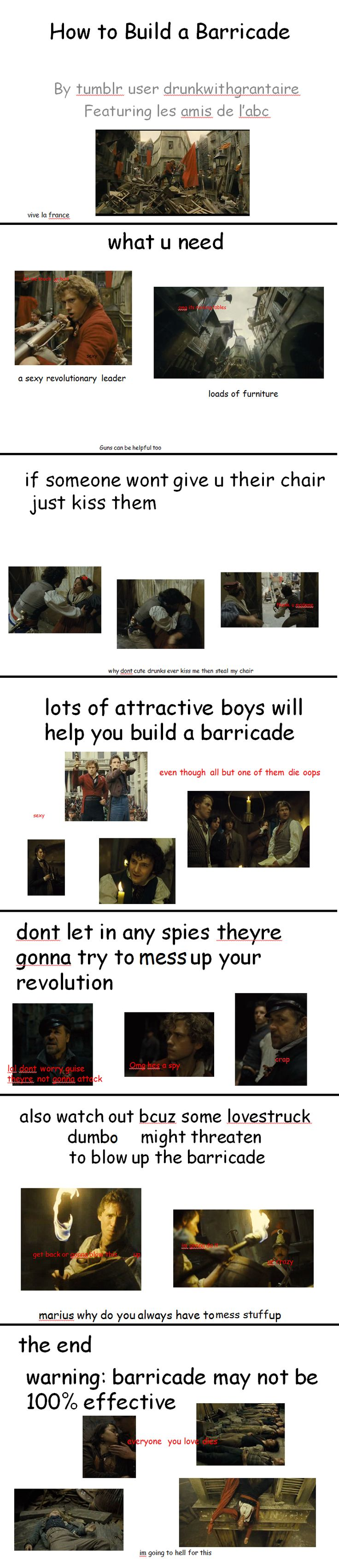 "How to Build a Barricade... The comment at the end is the reason why i repinned this ""I'm going to hell for this"" lol!!!"