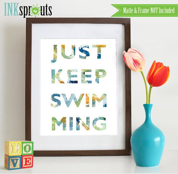 Watercolor Just keep swimming Print, Watercolor silhouettes, Fish, Nemo, Beach theme, Nursery Print, Ocean print, Under the Sea, Item  WC006 on Etsy, 56,15kr