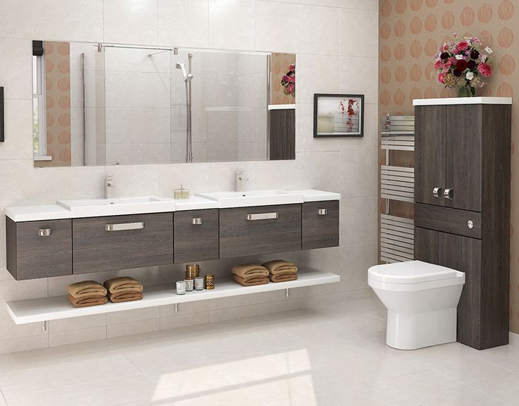 Mali Oak Modular Bathroom Furniture - Dark wood grain finishes are great  for creating a contemporary