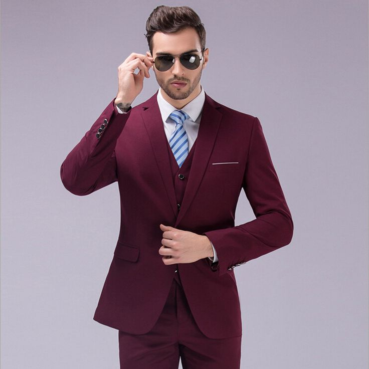 Trajes para hombre » Trajes de color vino para caballero 1