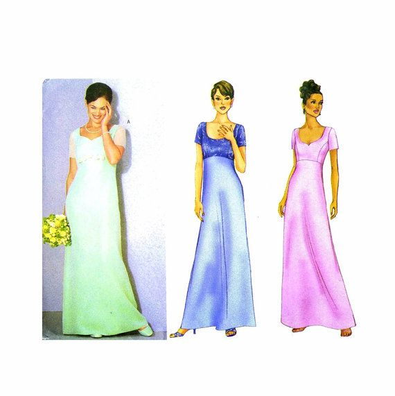 Raised Waist Evening Dress Gown Butterick 6467 Sewing Pattern Size 12 - 14 - 16 Bust 34 - 36 - 38 UNCUT