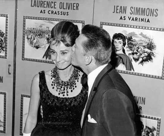 Audrey Hepburn and Kirk Douglas