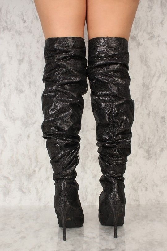 1e1146f44b498 Walk with style in these cute thigh high boots! Featuring a glitter  texture, pointy
