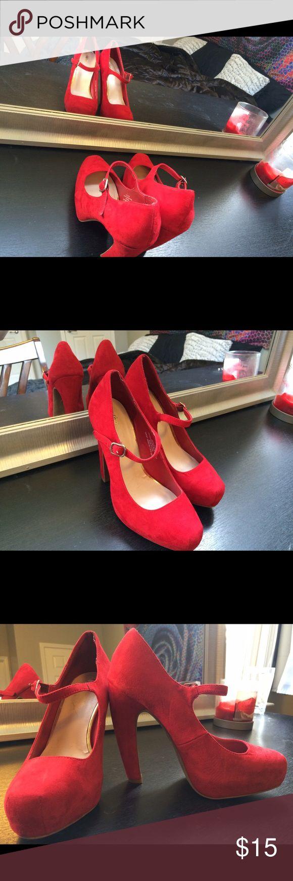 Bright red velvet heels 5in red heels Shoes Heels