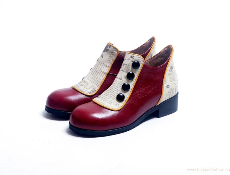 Womens Boots Outlet Factory Shop Burgundy Womens Shoes, Flat Ankle Boots, Genuine Leather Shoes Womens Winter Leather Shoes, Red Leather Booties & Buttons Shoes, Marsala Shoes Canada CZV0139518