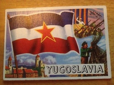 Fancy Old Rare vintage Flags of the world by topps card Yugoslavia
