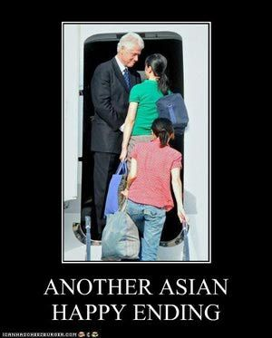 Funny Bill Clinton Pictures: Clinton's Asian Happy Ending