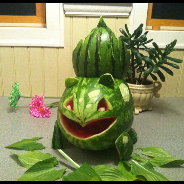 Pin for Later: 13 Geeky Watermelon Carvings That Will Make Your Summer So Fun Bulbasaur