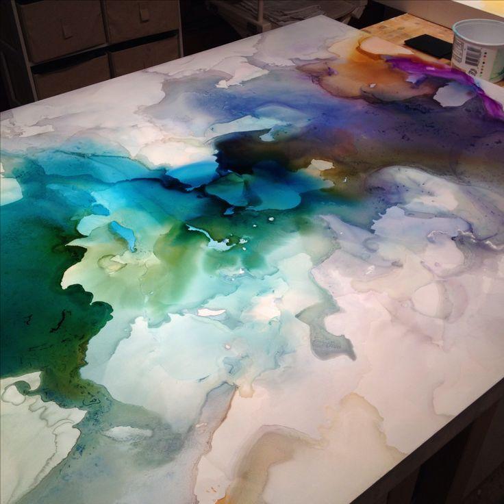 Work in progress 8/28/14, ink on Claybord, 30x40 #pools #ephemera #blue