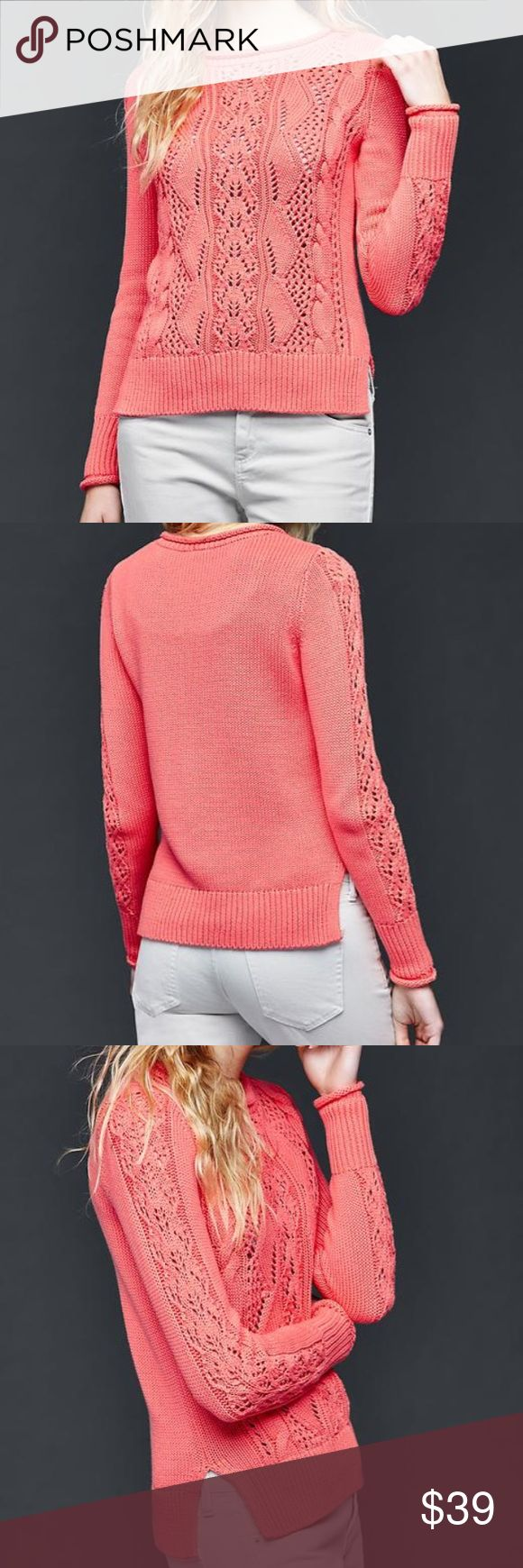Pink reef gap Side slit pointelle pullover sweater , pink reef , 100% cotton , cozy , warm , easy fit . GAP Sweaters