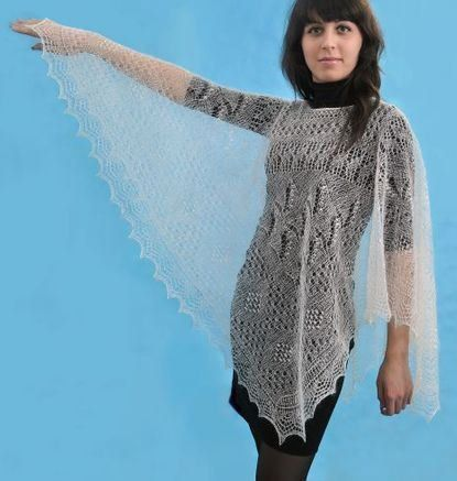 Handknitted Poncho Lace Elegant Natural White by anastasialeon