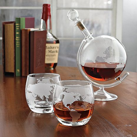 Etched Globe Whiskey Decanter & Glass Set - Wine Enthusiast- gift idea