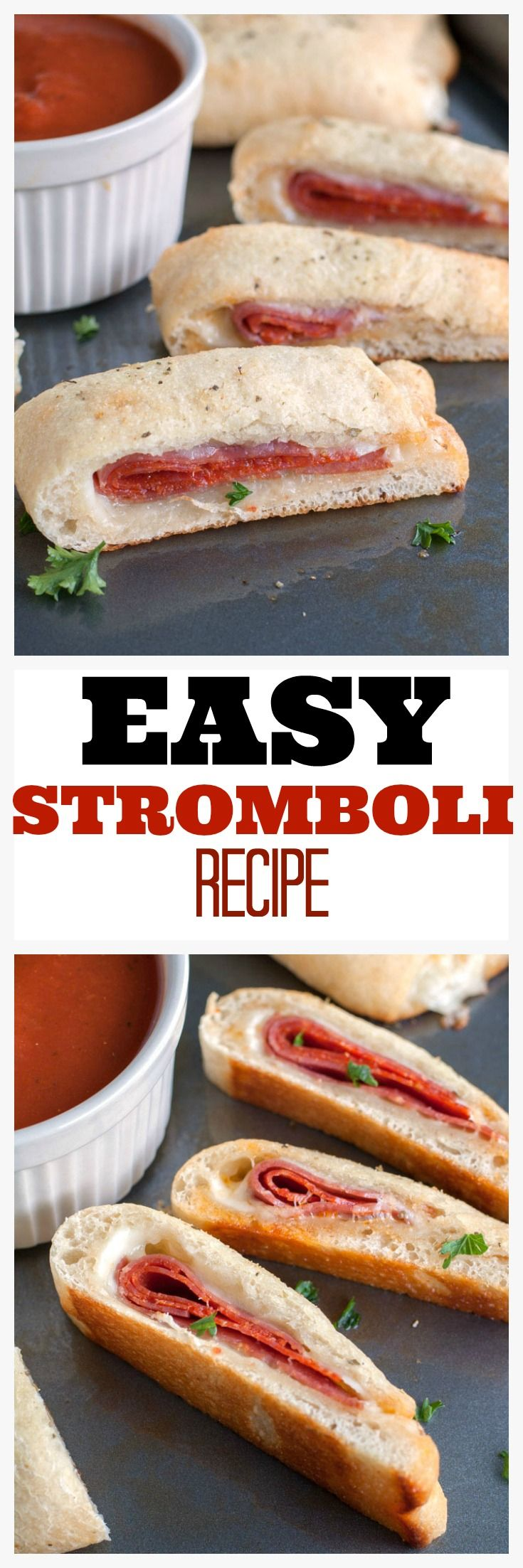 Easy Stromboli Recipe - Pepperoni, salami and provolone wrapped up in pizza dough and topped off with Italian spices. Dip in marinara for a great dinner.