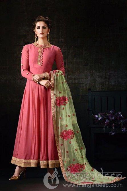 Ravishing Pink Georgette Resham Work Designer Anarkali Suit. For more information :- Call us @+919377222211 (Whatsapp Available)