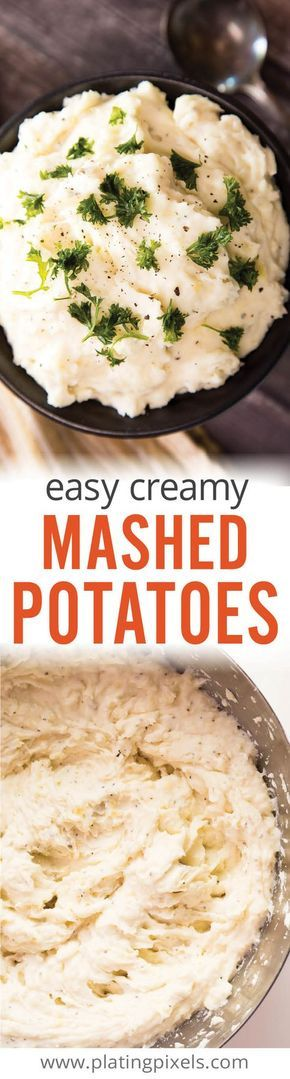 The best quick and Easy Creamy Mashed Potatoes by Plating Pixels. Just boil potatoes and mix in sour cream, cream cheese, butter, milk and garlic for fluffy mashed potatoes as Thanksgiving or holiday gluten-free side. So creamy and fluffy it has the consistancy of whipped cream! - www.platingpixels.com