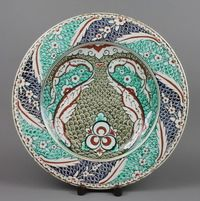 "Lot 71 A 19th Century Cantagalli platter, the blue and green fiscal ground decorated with stylised fish 16"", est  £50-100"