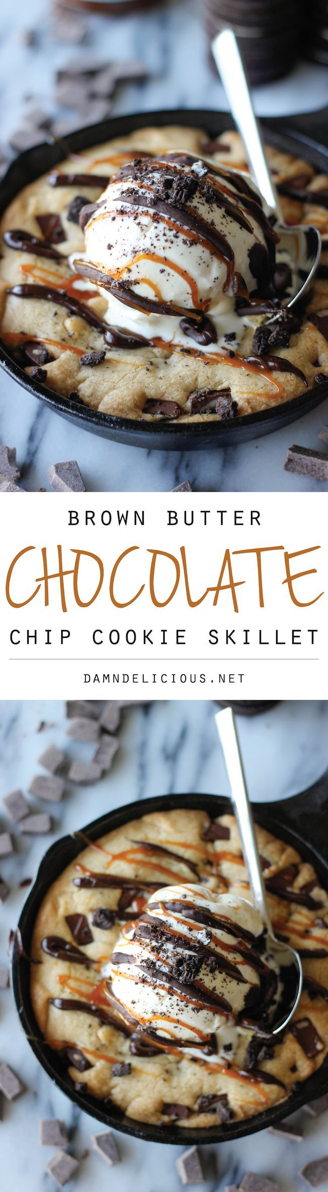 "Brown Butter Chocolate Chip Cookie Skillet (""Pizookie"") - No need to go to BJ's – you can make this brown butter pizookie right at home, and it tastes 100000x better!"