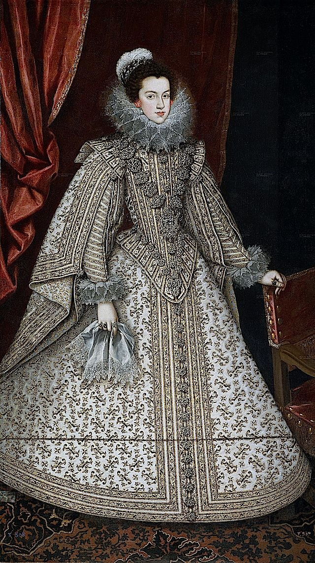1620 Isabel de Borbón, futura reina de España by Rodrigo de Villandrando (Prado) Elisabeth's dress shows how the farthingale with all of the trimmings hangs on in Spain. This is an original farthingale with conical skirt.