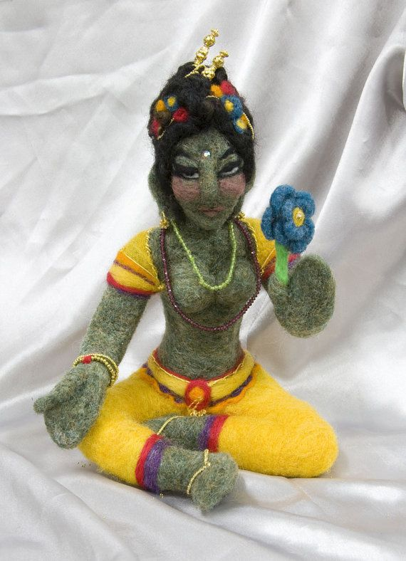 Needle felted Green Tara sculpture by CrystalheartCreation on Etsy, $250.00
