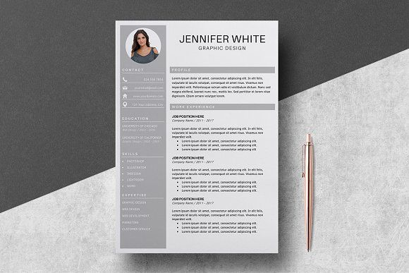 Resume Template 4 pages / Jennifer by LucaTheme on @creativemarket