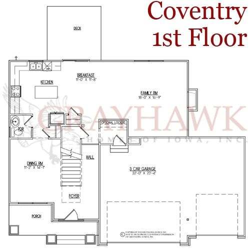 Coventry 1st floor plan grayhawk homes of iowa new for Coventry plan