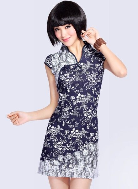 modern take on the traditional...Short Jean Cheongsam / Qipao / Chinese Dress