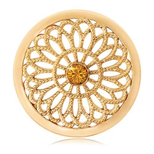 This vintage, 'Flower Coin' is bright and beautiful! #nikkilissoni #swarovski #janesjewelers