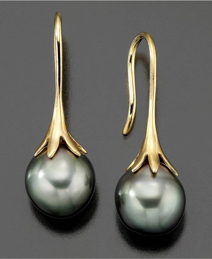 14k Gold Earrings, Cultured Tahitian Pearl - Earrings - Jewelry & Watches - Macy's