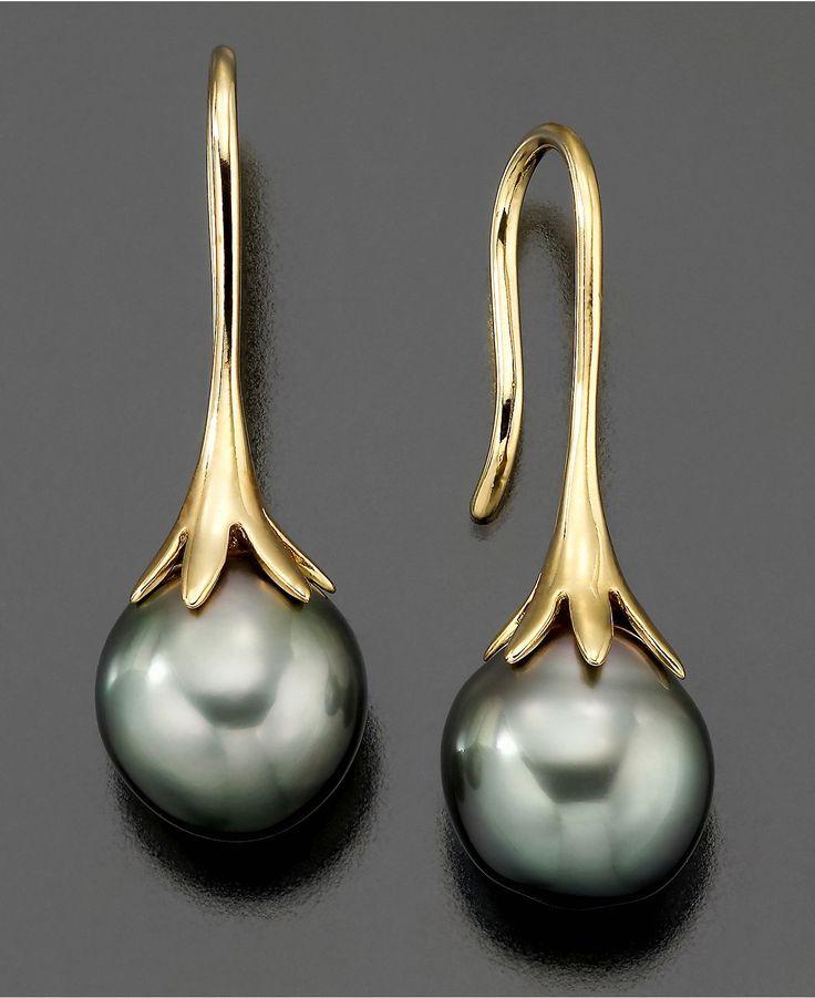 14k Gold Earrings, Cultured Tahitian Pearl - Earrings - Jewelry & Watches - Macy's