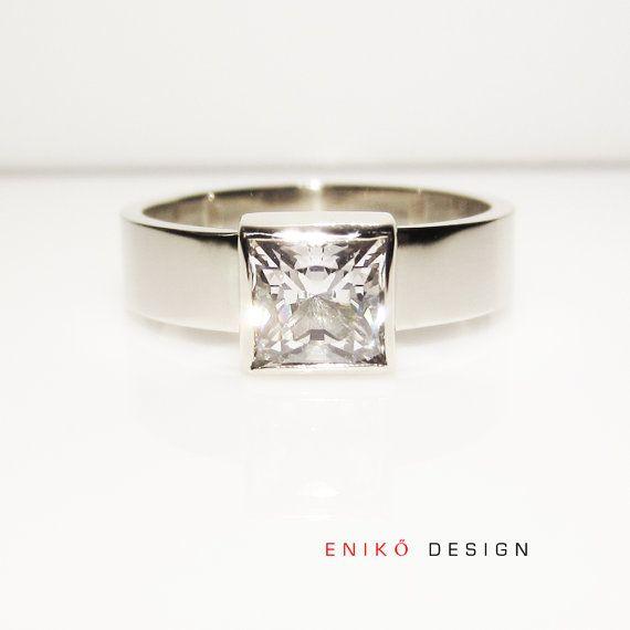 Elegant Princess cut Diamond Engagement ring by enikodesign,